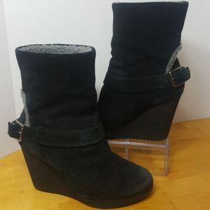 Nine West Black Suede Leather Buckle Wedge Ankle